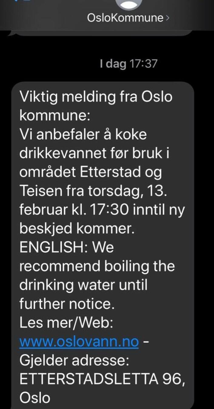 Denne meldingen har gått ut til folk på SMS.