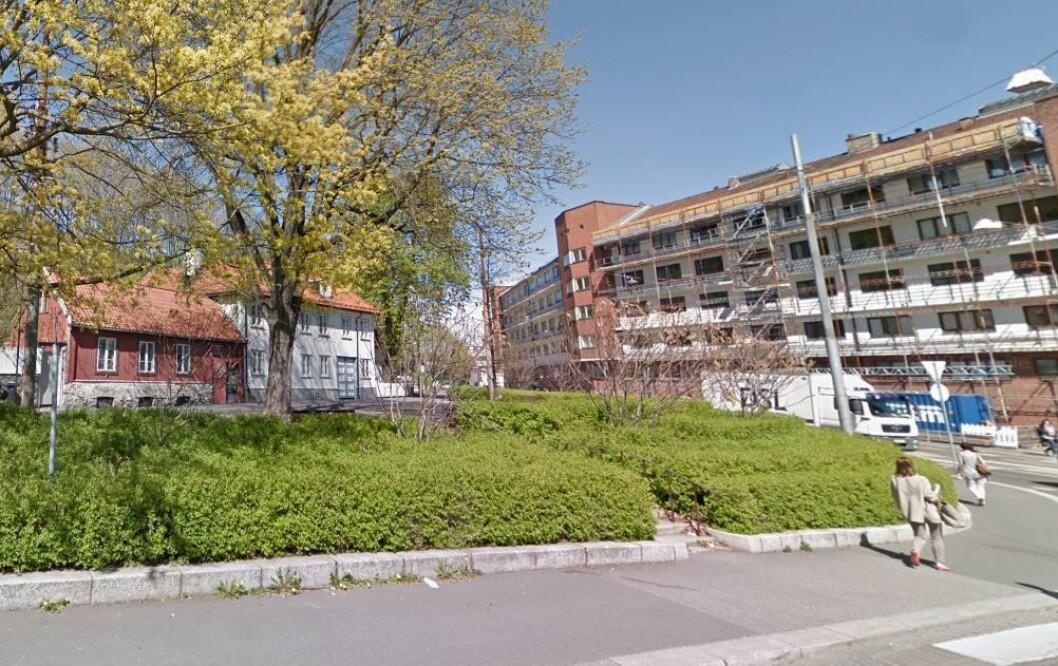 Denne plassen, hvor Fredensborgveien møter Maridalsveien, tidligere kalt Trekantplassen, blir nå kalt Edith Carlmars plass. Foto: Google maps