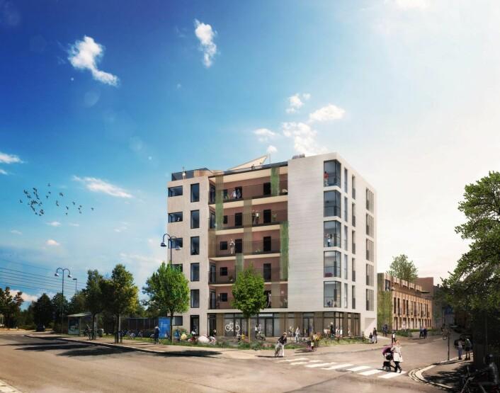 Slik ser Obos sitt boligprosjekt i Etterstadgata 2-6, ved Sotahjørnet, ut. Illustrasjon: LINK arkitektur / Obos