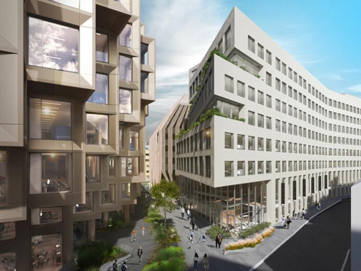 Høyskolen Kristiania vil samle flere tusen studenter og ansatte i Urtekvartalet. Illustrasjon: A-lab