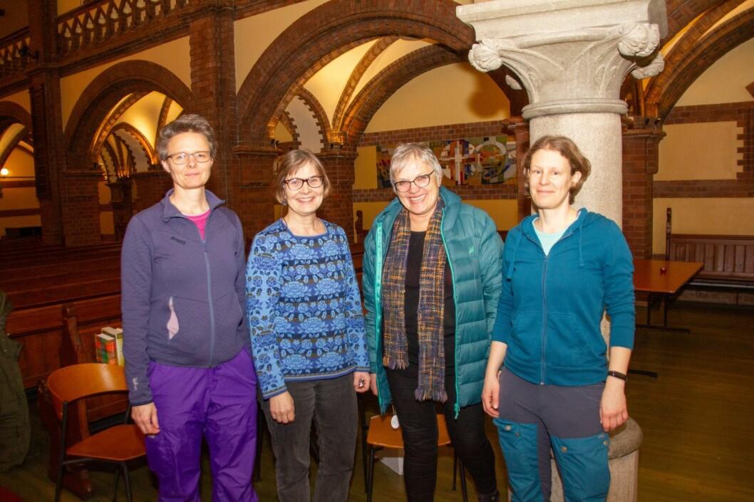 Viktige støttespillere. Fra Venstre: Györgyi fra Ungarn, Rigmor fra Oslo, Oddrun Remvik (prosjektleder) og Adrienn fra Ungarn. Foto: Hans Magnus Borge