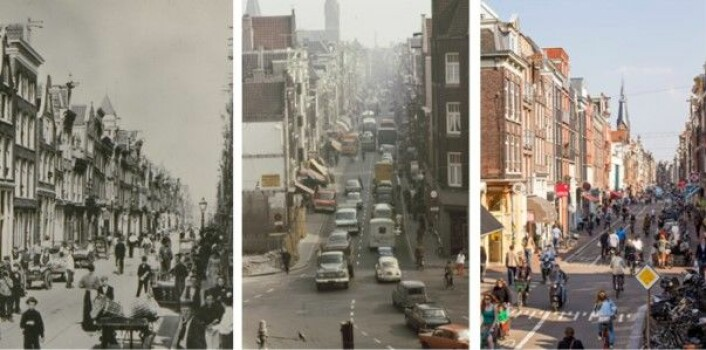 Haarlemmerdijk i Amsterdam i 1900, 1971 og 2013. Historiske fotoer fra The Amsterdam Archives. Det nyeste bildet er tatt av Thomas Schlijper