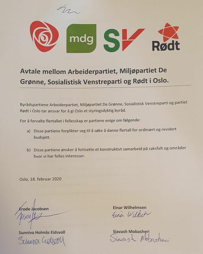 To punkter klarte byrådspartiene AP, SV og MDG bli enige med Rødt om. Slik ser avtalen ut. Foto: Eivor Evenrud