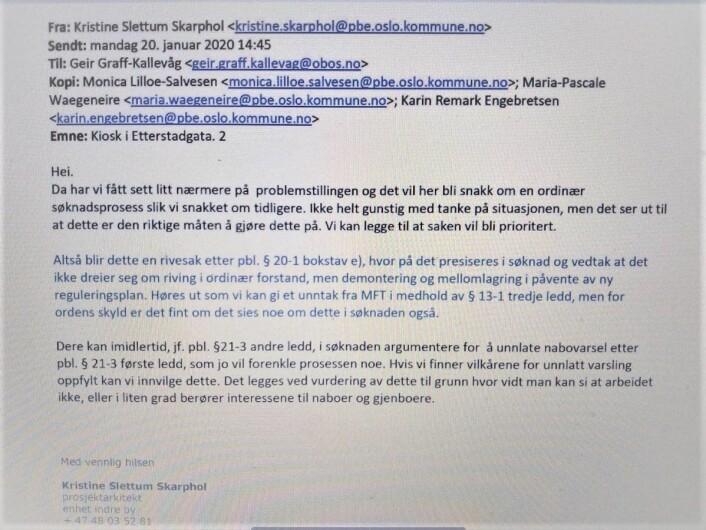 Bilde av epost sendt fra plan- og bygningsetaten til OBOS 20. januar i år.