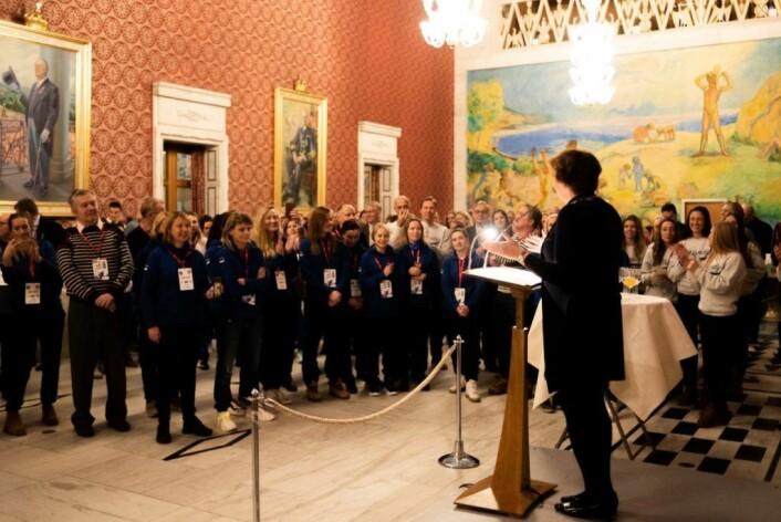 Som siste post på det offisielle åpningsarrangementet gav Oslos ordfører, Marianne Borgen en mottagelse i Rådhuset for deltagerne. Foto: Bjørnar Morønning