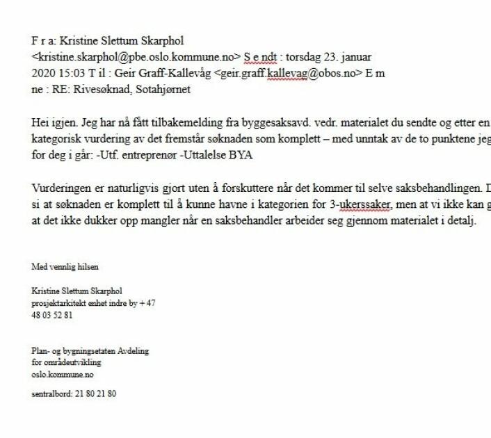 Skjermdump av epost fra plan- og bygningsetaten til OBOS sendt 23. januar i år.
