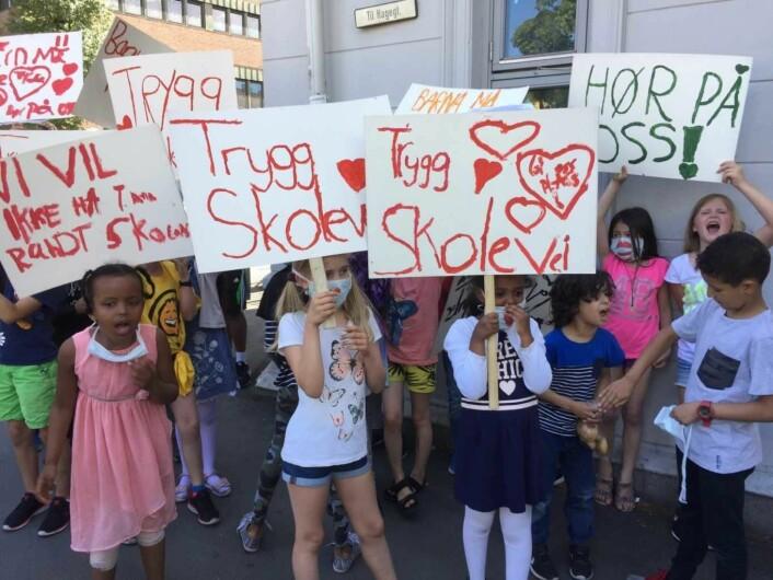 Barna ved Tøyen skole har også kjempet for en tryggere skolevei. Foto: Vegard Velle