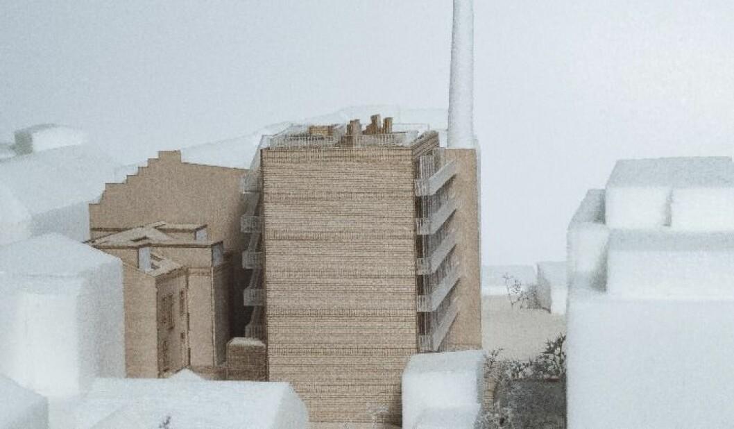 Slik så Union-gruppen og Grape arkitekter for seg at den sju etasjer høye blokka skulle fremstå i Hegdehaugsveien 26. Illustrasjon: Grape arkitekter