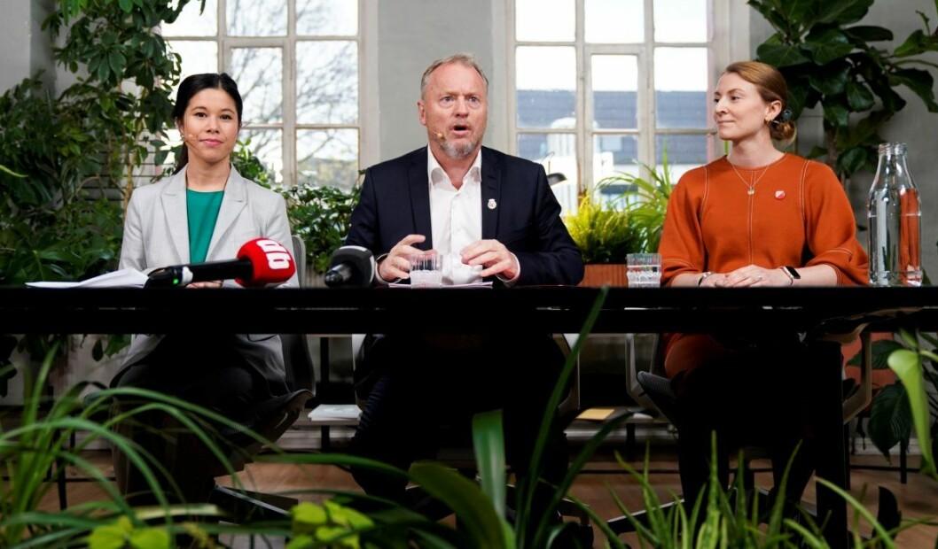 Byrådsmakt med Lan Marie Berg (MDG) og Raymond Johansen (Ap) ser ut til å ha styrket Oslo SV og fylkesleder Sunniva Holmås Eidvsold (til høyre). Foto: Håkon Mosvold Larsen / NTB scanpix
