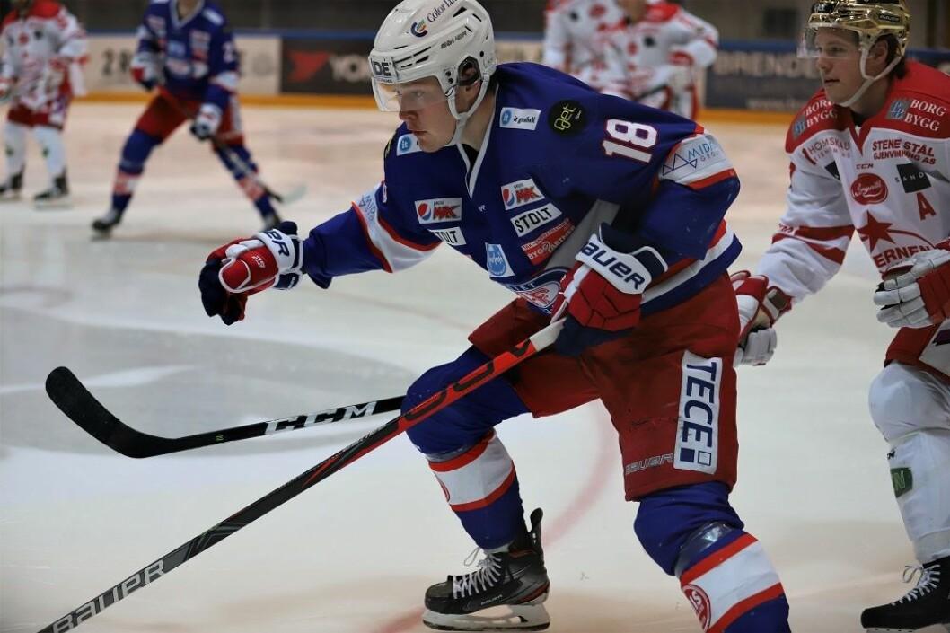 Thomas Olsen scoret det viktige 5-3 målet mot Lillehammer. Her tidligere mot Stjernen. Foto: André Kjernsli
