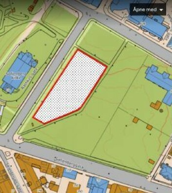 Det foreslåtte området for hundelufting langs Rathkes gate er skravert.