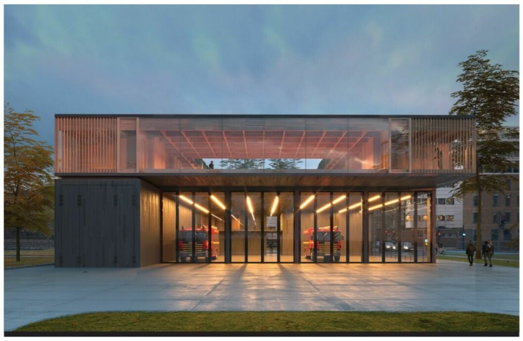 Slik blir den nye Sentrum brannstasjon i Bjørvika. Illustrasjon: Gottlieb Paludan Architects