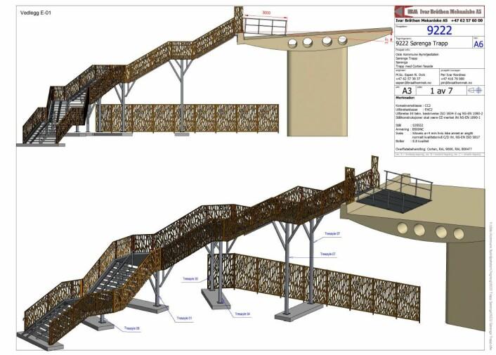 Slik vil den nye trappa fra Sørenga bro se ut. Illustrasjon: Plan- og bygningsetaten