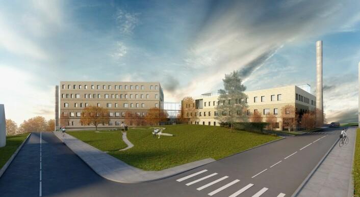 Ny storbylegevakt sett fra i innsiden av tomta. Illustrasjon: Nordic Office of Architecture.