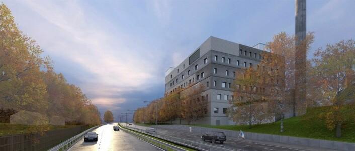 Ny storbylegevakt sett fra Trondheimsveien. Illustrasjon: Nordic Office of Architecture.