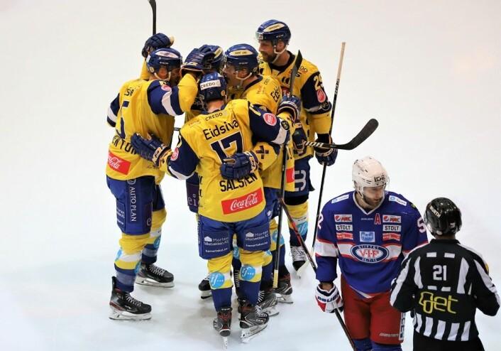 Storhamar sjokkåpnet og tok ledelsen etter 58 sekunder. Foto: André Kjernsli
