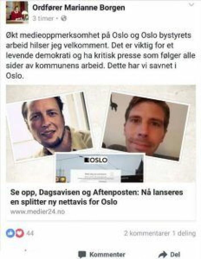 Ordføreren gleder seg over at Oslo får en ny lokalavis