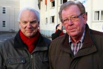 To ihuga patrioter: Frivillig i sekretariatet Erik Stensson (t.v) og oppsynsmann Knut-Helge Strømsnes (t.h). Foto: Nafisa Zaheer