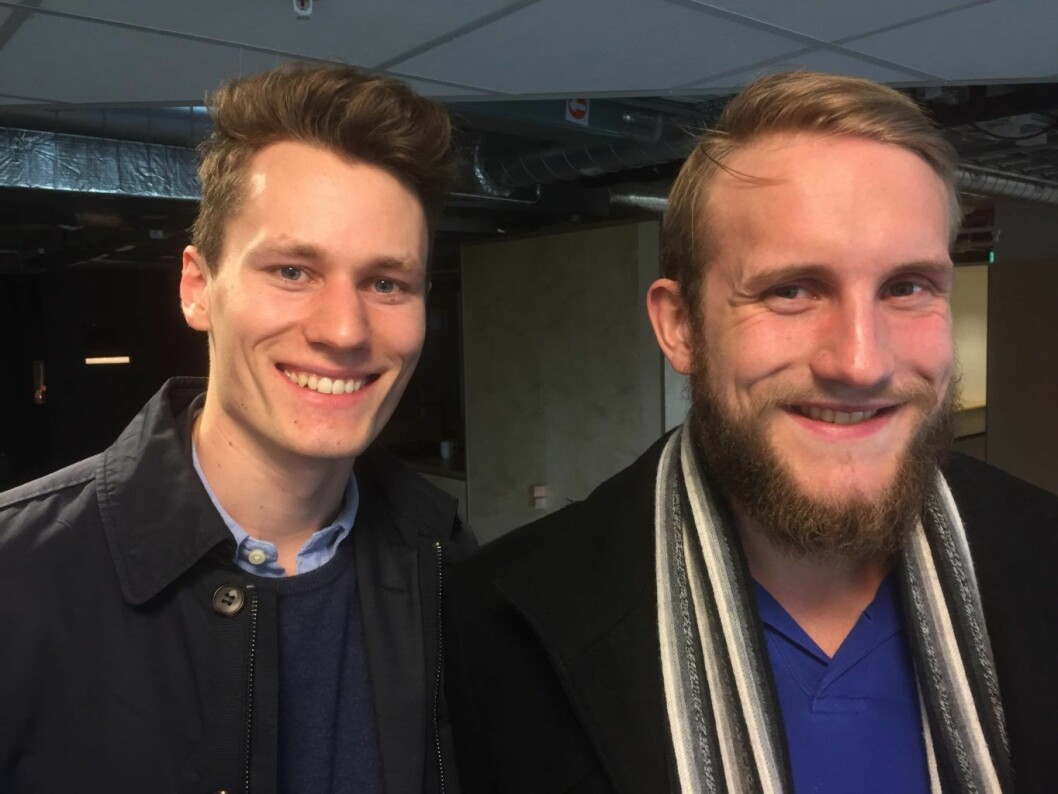 Kris Riise Jensen (til v.), leder av Startup Weekend Oslo, og Robert Andersen, økonomiansvarlig.