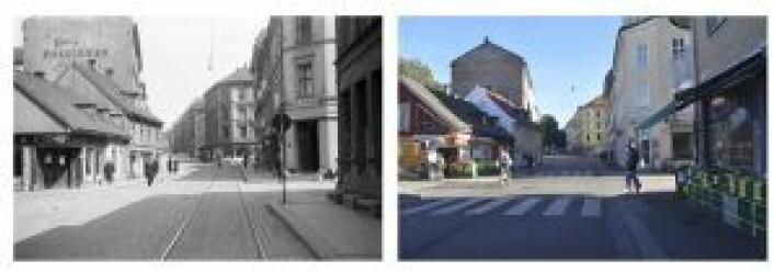 Tøyengata i 1943 og i 2016. Foto: Oslobilder.no / Oslo byarkiv