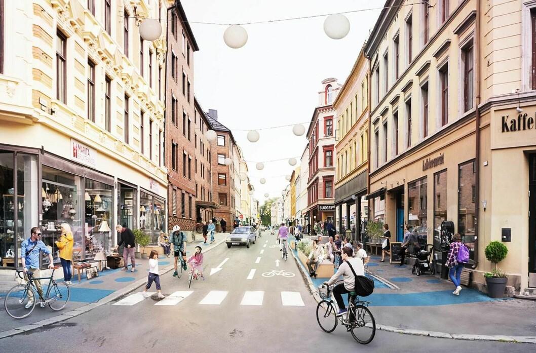 Slik kan Markeveien bli seende ut om bymiljøetaten får det som de vil. Illustrasjon: Bymiljøetaten / Oslo kommune