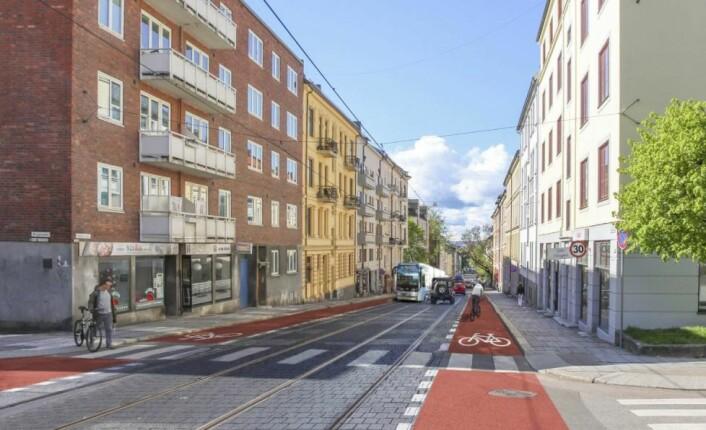 Konseptet Sykkelbane har en opphøyet sykkelvei på hver siden av gaten. Varianten fordrer at all varelevering og parkering flyttes til sidegater.