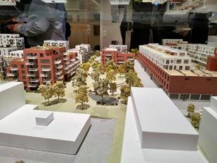 Her ser du hvordan deler av boligprosjektet på Hasle skal se ut, ifølge planen. Foto: Fredrik Johannessen