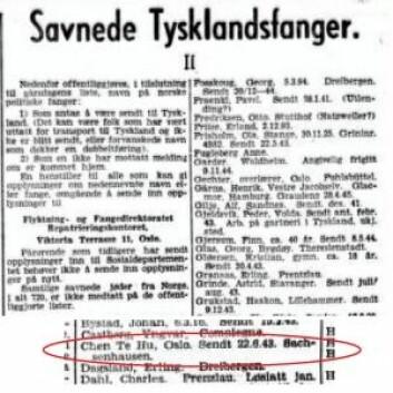 Chen Tu Hu som 'savnet tysklandsfange' i oktober 1945, ifølge Aftenposten. Kilde: Aftenposten, 25. oktober 1945 via Yenyin Kwan