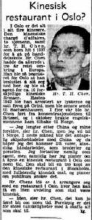 Artikkel om Chen Te Hu i Aftenposten i i februar 1946. Kilde: Aftenposten, 4. februar 1946