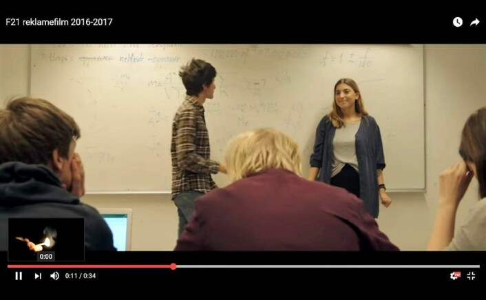 Foran Star Wars-filmen Rogue One kjørte Fyrstikkalleen skole en reklamefilm rettet mot søkere til skolen. Foto: Skjermdump