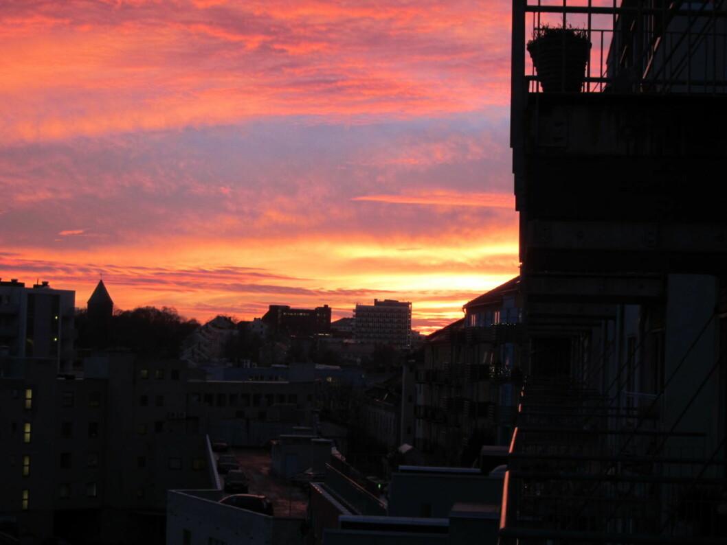 Den flotte utsikten fra en balkong på Sagene av... forurensning? Foto: Tarjei Kidd Olsen