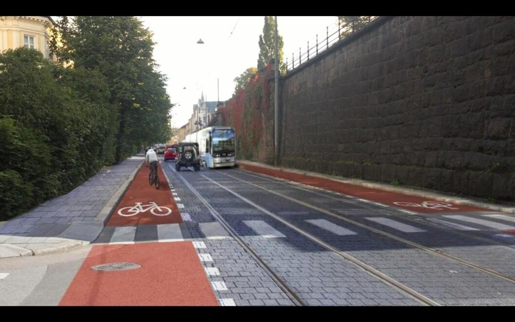 Holtegaten som oppgradert gjennomfartsåre for alle trafikanter. Bilde: Bevar Parkeringen