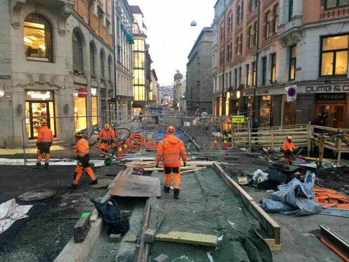 Prinsens gate har vært et eneste stort kaos under byggeperioden. Foto: Beate Radby Schieldrop / Oslo Handelstands Forening
