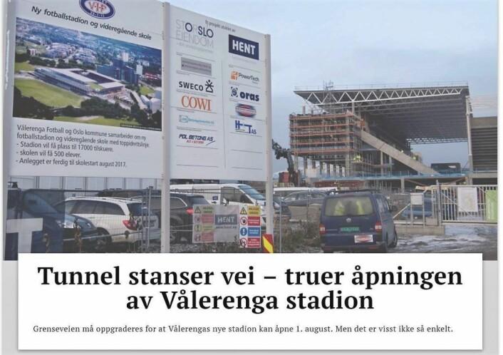 Dagsavisen rapporterer at åpningen av Vålerengas nye stadion kan bli utsatt. — Stemmer ikke, sier stadionansvarlig.