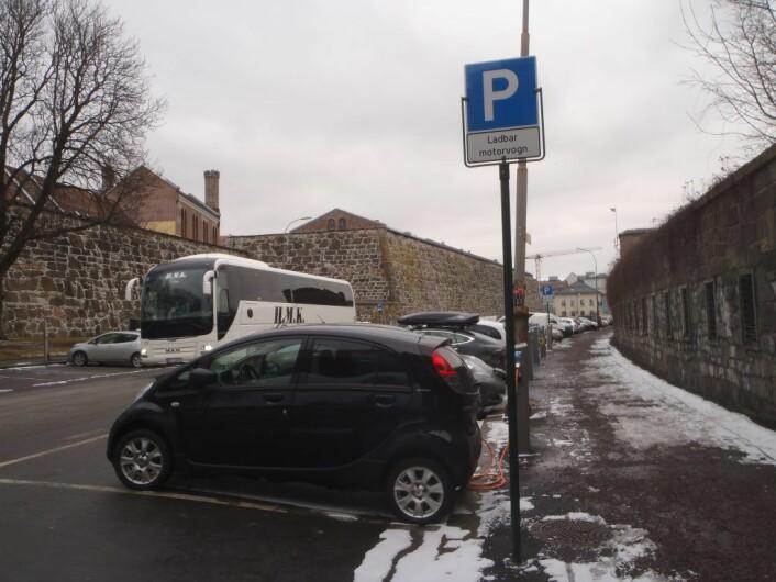 Også elbilplassene innenfor ring 1 forsvinner. Foto: Anders Høilund