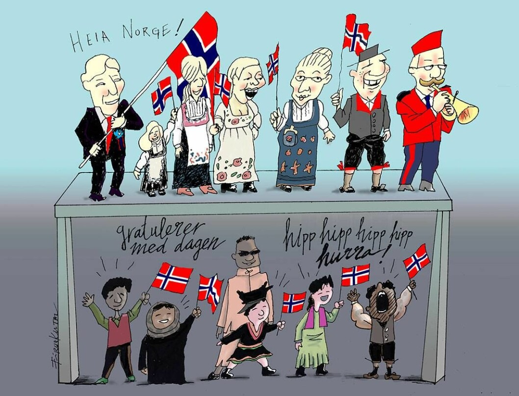 Etnisk norsk 17. mai-komite. Tegning: Firuz Kutal