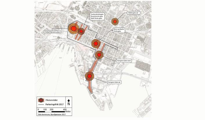 Planen for de seks pilotprosjektene for et bilfritt byliv. Illustrasjon: Oslo kommune