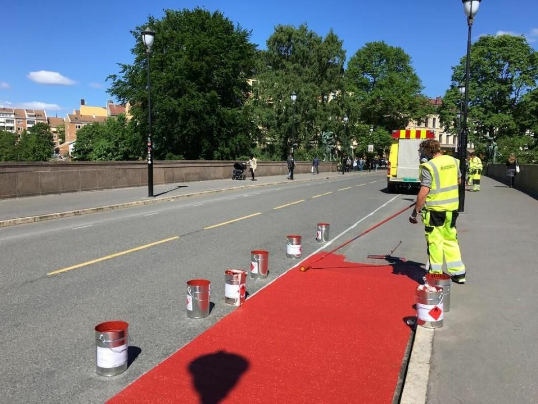 I år vil Sykkelprosjektet anlegge 11 km sykkelvei. Her på Ankerbrua, Grunerløkka. Foto: Sykkelprosjektet