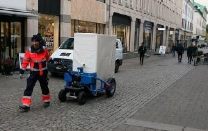 Forsøk med alternativ varelevering i gågater i Gøteborg. Foto: PO