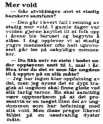 Det blir stadig mer og brutal vold, ifølge politiinspektør i Oslo. Fra VG i 1979.