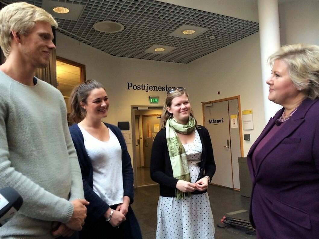 Høyre og Erna Solberg gikk på landsmøtet nylig inn for skolepenger for utenlandske studenter. Foto: Statsministerens kontor