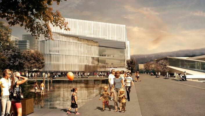 – Nye Deichmanske bibliotek blir nok min favoritt, men det må få universell tilgang, mener Tone Bratteli. Foto: Lund Hagem Arkitekter