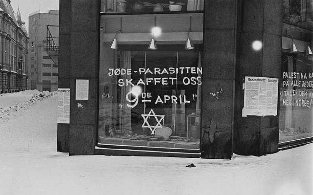 Antisemittisk graffiti i Oslo i 1941. Foto: Anders Beer Wilse