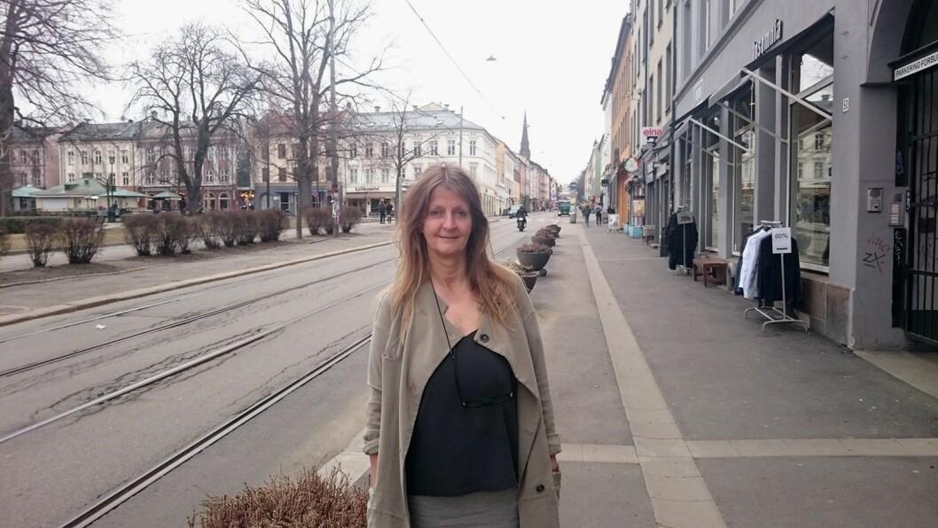 Butikkeier Audrey Maria Larsen frykter en butikkdød blant de små og uavhengige butikkene på Grünerløkka med byrådets planer om et nærmest bilfritt Løkka. Foto: Christian Boger