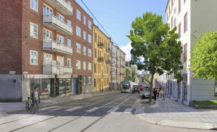 Slik, medbrede parkerings- og vareleveringslommer på vestsiden av gaten, kan Thereses gate komme til å se ut fremover.
