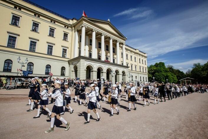 Uranienborg skolekorps kan bli et sjeldent syn på Slottsplassen 17. mai framover. Foto: Uranienborg skolekorps