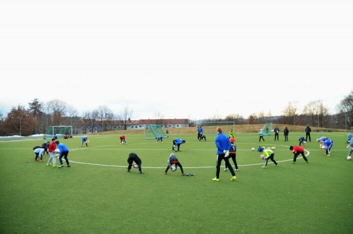 Fotballtrening på Caltexløkka, ved Tøyen.