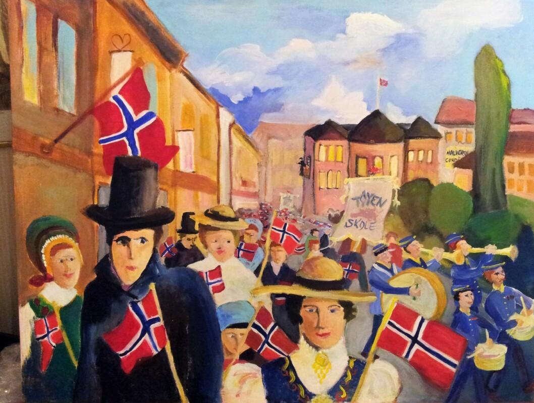 17. mai gjengitt av Annhild Brit Gustavsen. Hun sier om bildet: � Dette Oslo-motivet er inspirert av Munch, Aften på Karl Johan fra 1891,og min opplevelse fra 17. mai-tog i 1966, da jeg gikk på Tøyen skole. Foto: Stine Raastad