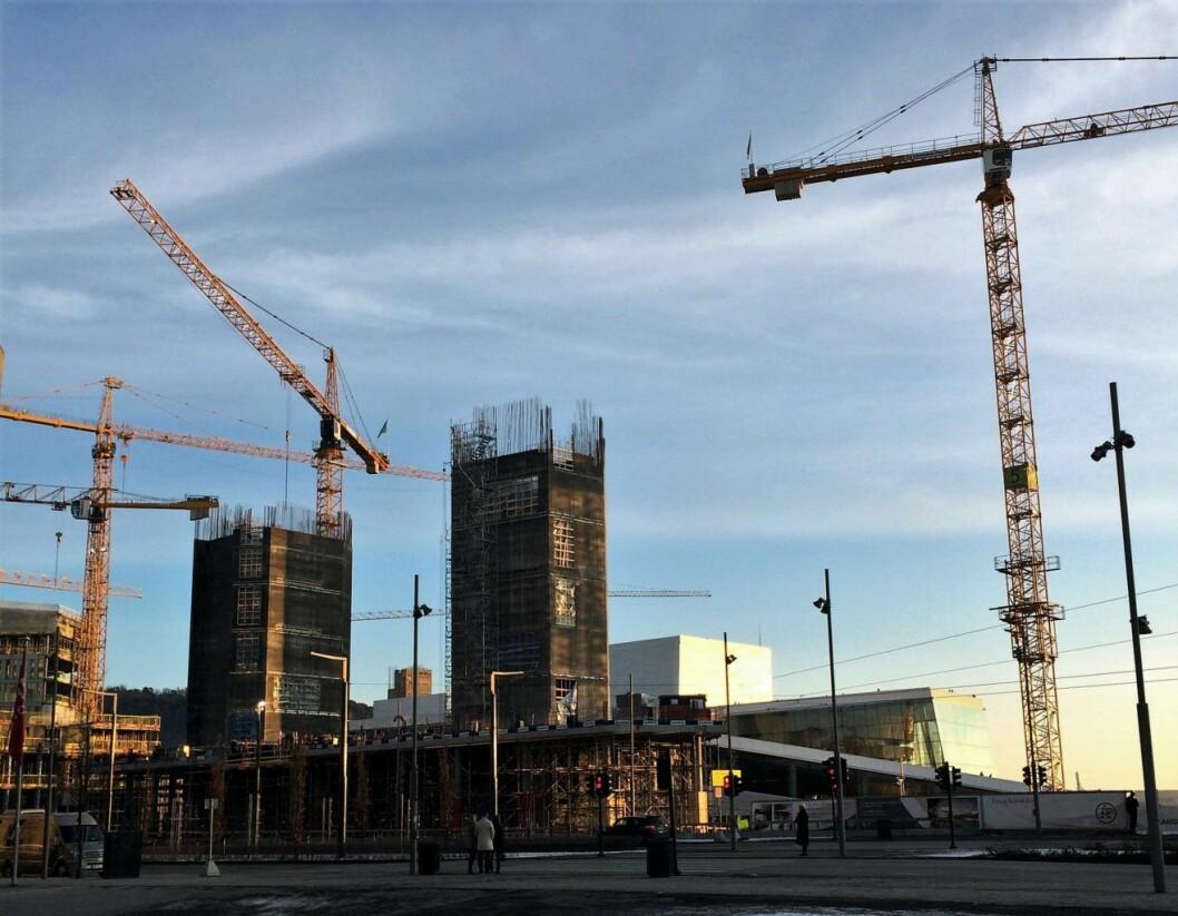 I en spektakulær og utfordrende byggeprosess har kultur- og idrettsbygg i Oslo støpt 20 meter i høyden på kun ti døgn ved hjelp av glideforskaling. Foto: Kultur- og idrettsbygg