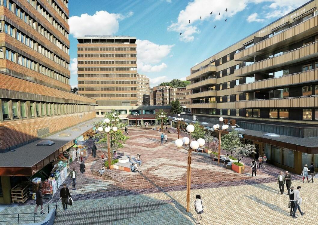 Slik vil dekket på nye Tøyen torg se ut fra høsten. Illustrasjon: Bymiljøetaten
